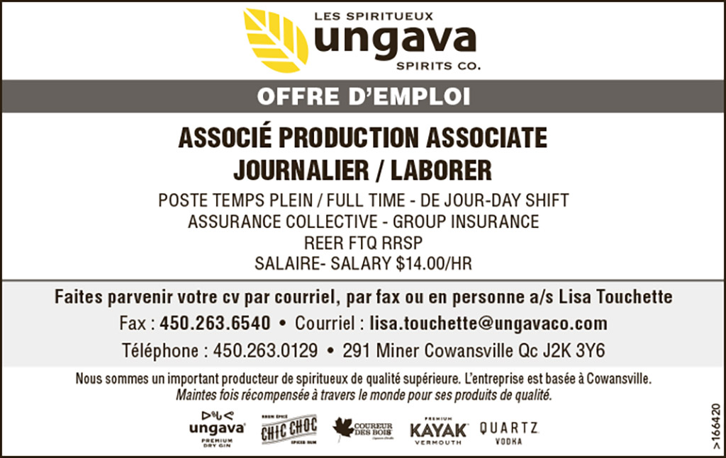 ASSOCIÉ PRODUCTION ASSOCIATE – JOURNALIER / LABORER