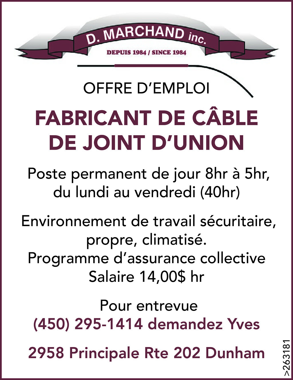FABRICANT DE CÂBLE DE JOINT D'UNION